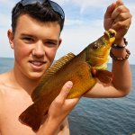 James Thomas with a wrasse