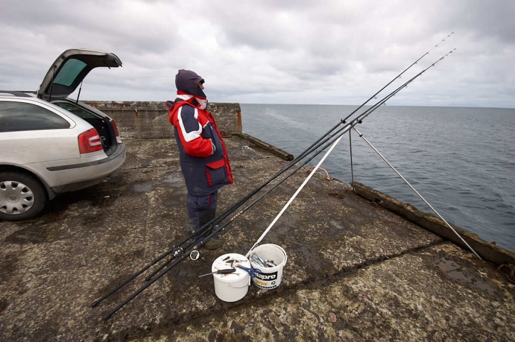 Whiting fishing from a pier
