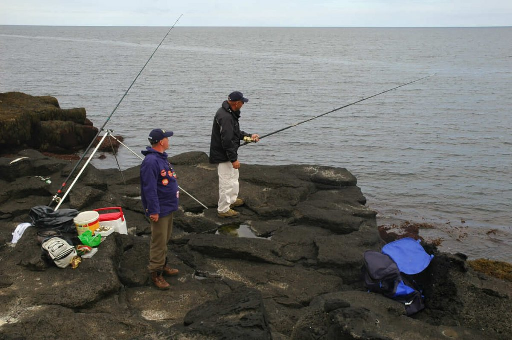Whiting fishing from rocks
