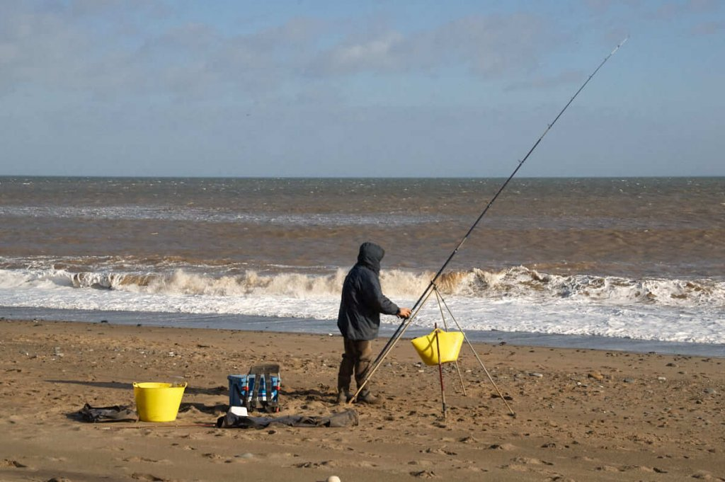Whiting fishing from a beach